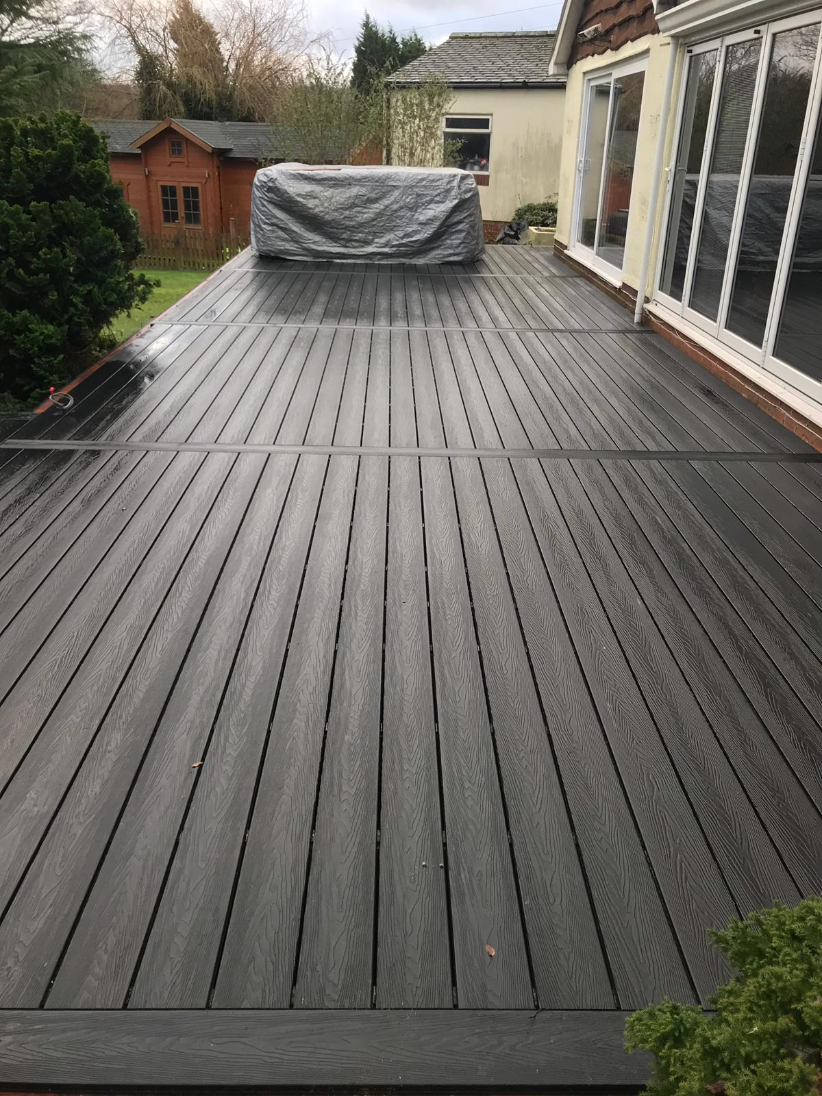 Deep embossed composite decking in mist grey , anti slip