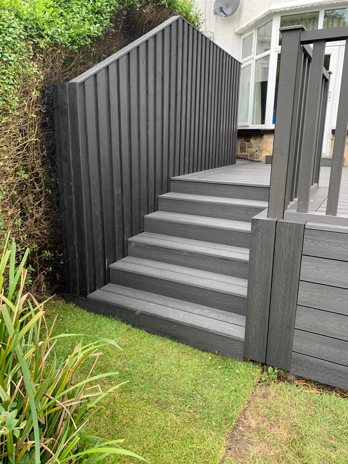 Heritage Dark Charcoal Deep Embossed Composite Decking with Composite Handrails and LED Lighting