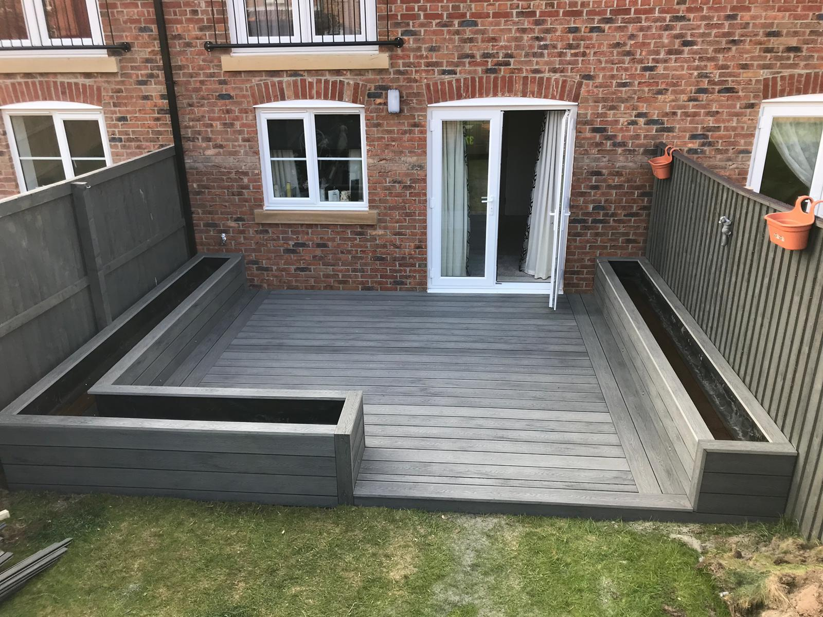 Heritage Mixed Grey Deep Embossed wood Grain effect Composite Decking with added planters