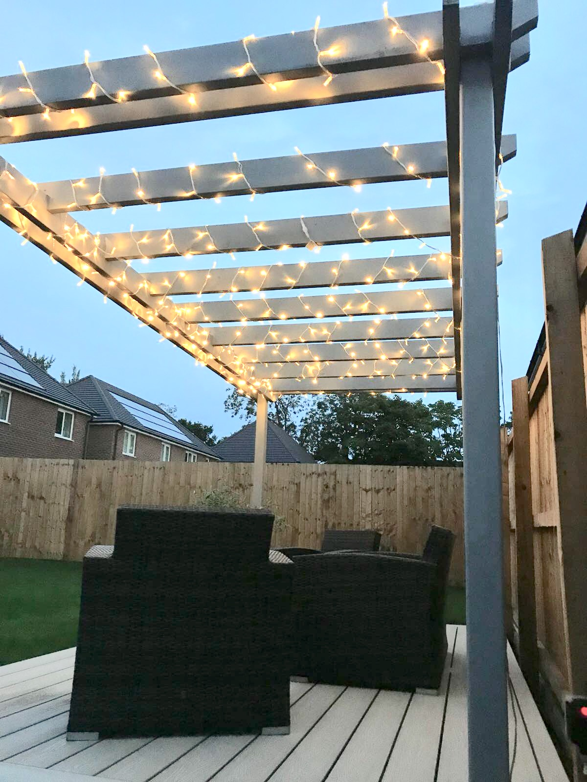 ash white composite decking with pergola