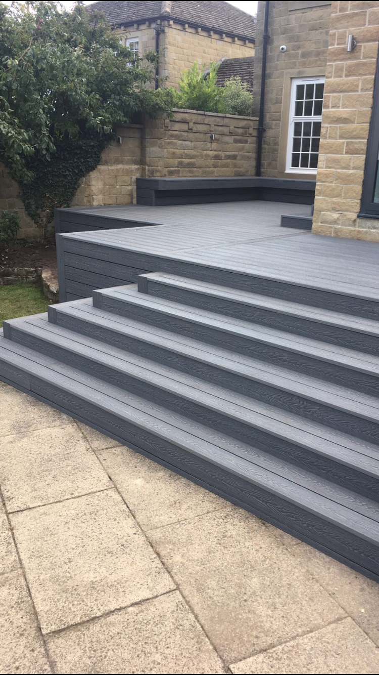 MIST GREY EMBOSSED COMPOSITE DECKING