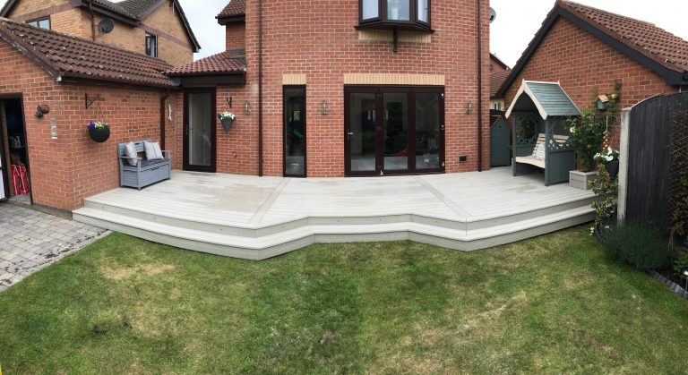 ASH WHITE COMPOSITE DECKING WITH LED LIGHTING