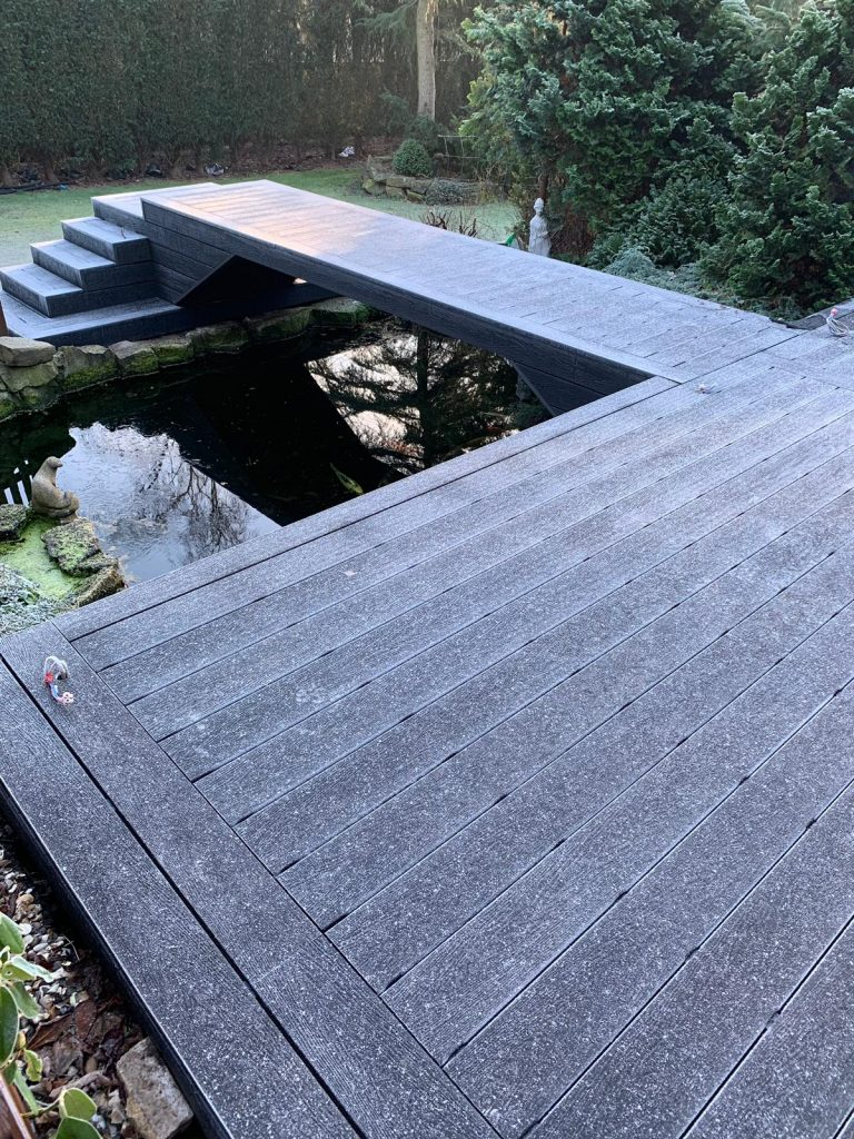 Deep embossed composite decking in mist grey , Ice scene , winter anti-slip
