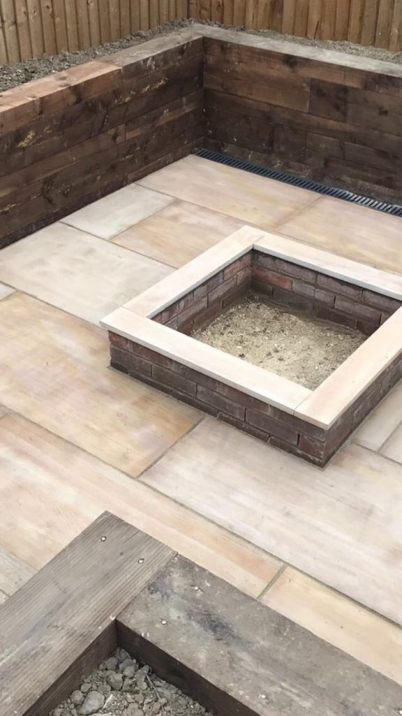 Bespoke Built Fire pit with Indian Sandstone Paving