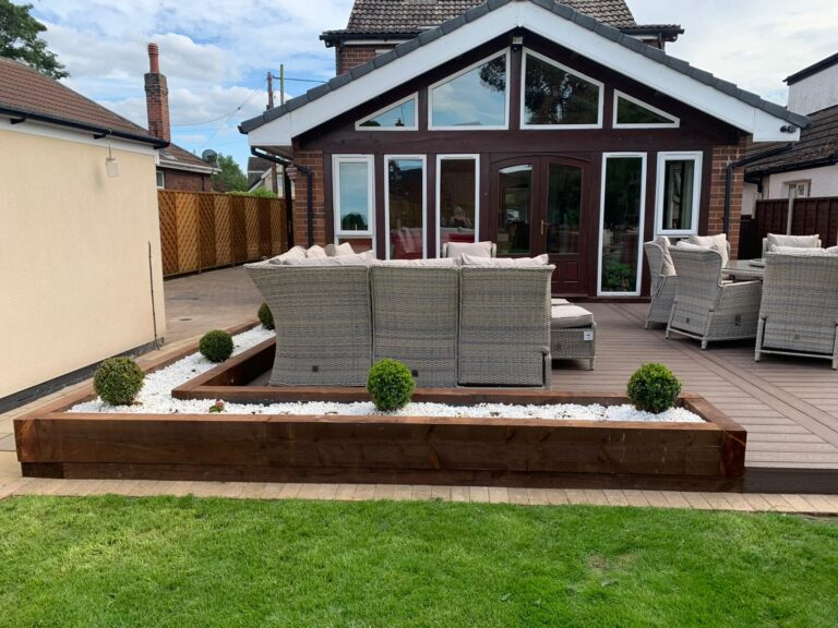 Heritage Brown Deep Embossed Composite Decking with Railway Sleeper Flower Beds