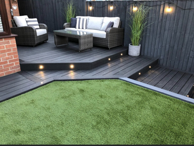 Heritage Dark Charcoal Deep Embossed Composite Decking with LED Lighting & Feather Edged Fencing