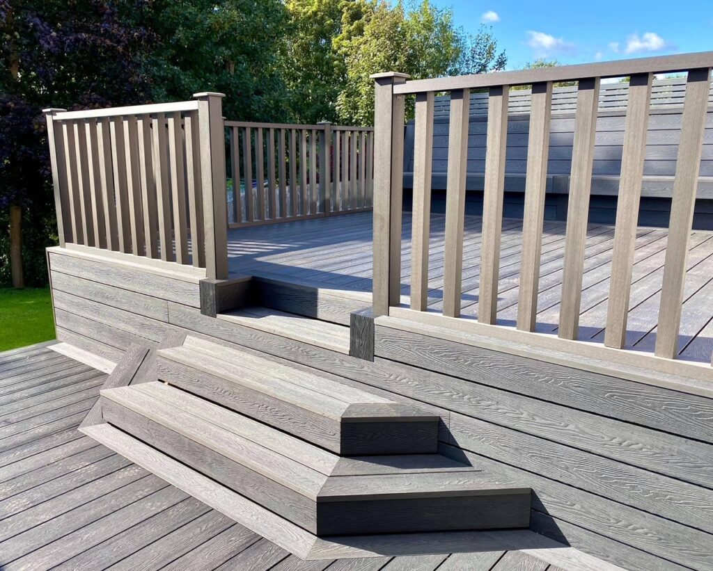 Heritage Deep Embossed Composite Decking with added Bench Seating and Composite Handrails